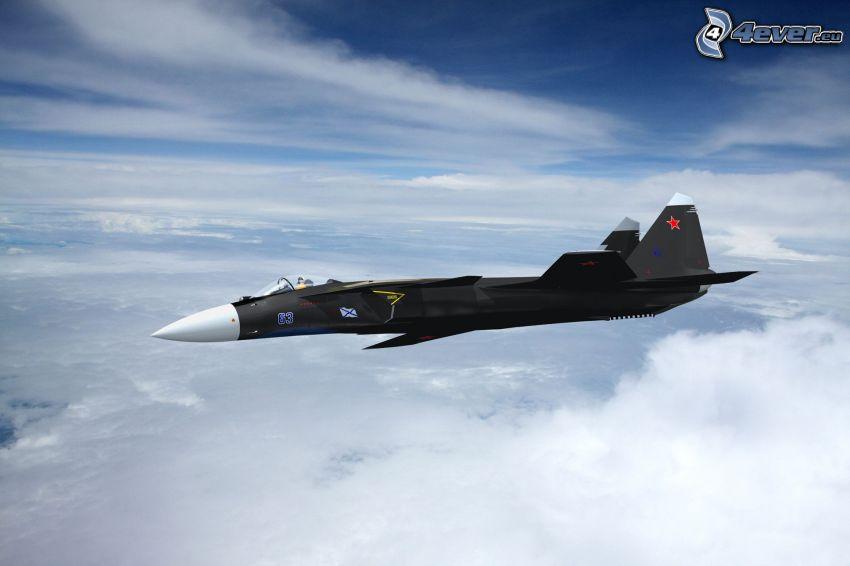 Sukhoi Su-47, encima de las nubes
