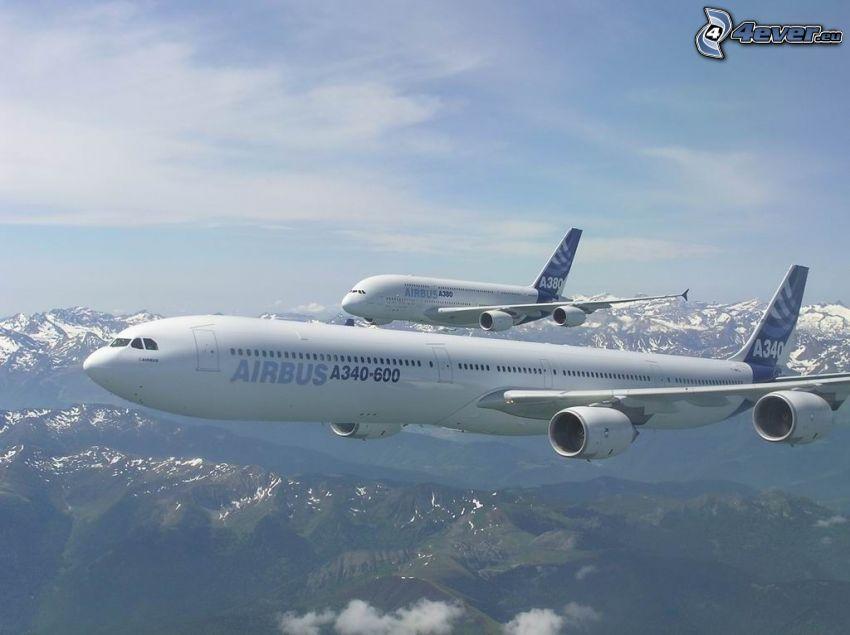 Airbus A340, Airbus A380, aviones, paisaje