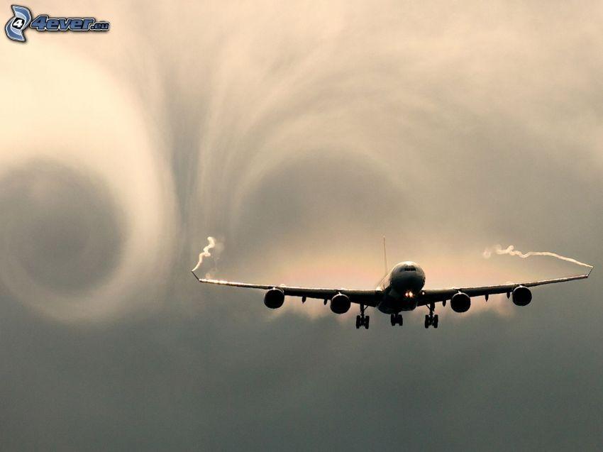 Airbus A340, aire vórtice