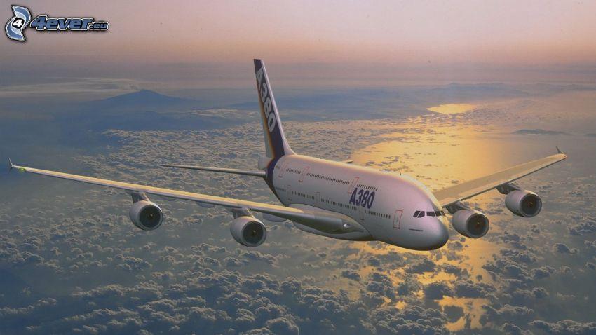 Airbus A380, encima de las nubes, mar