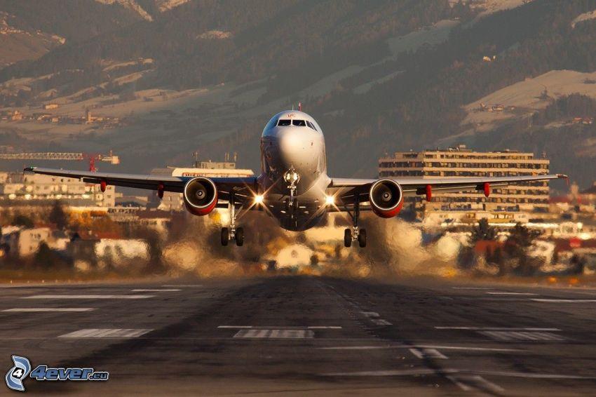 aterrizaje, avión, pista
