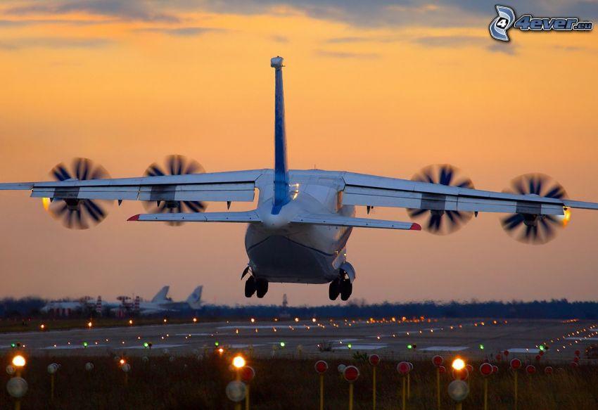 avión, aterrizaje, salida del sol