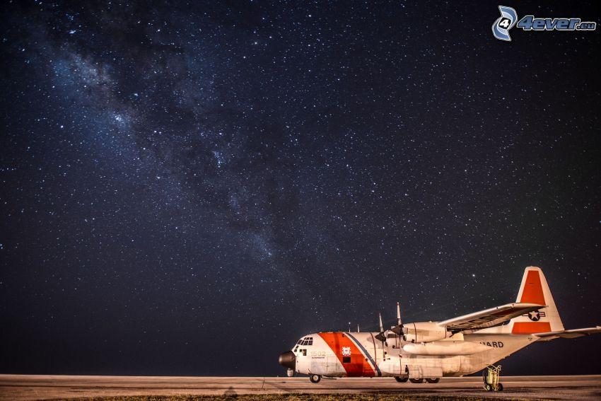 avión, cielo estrellado