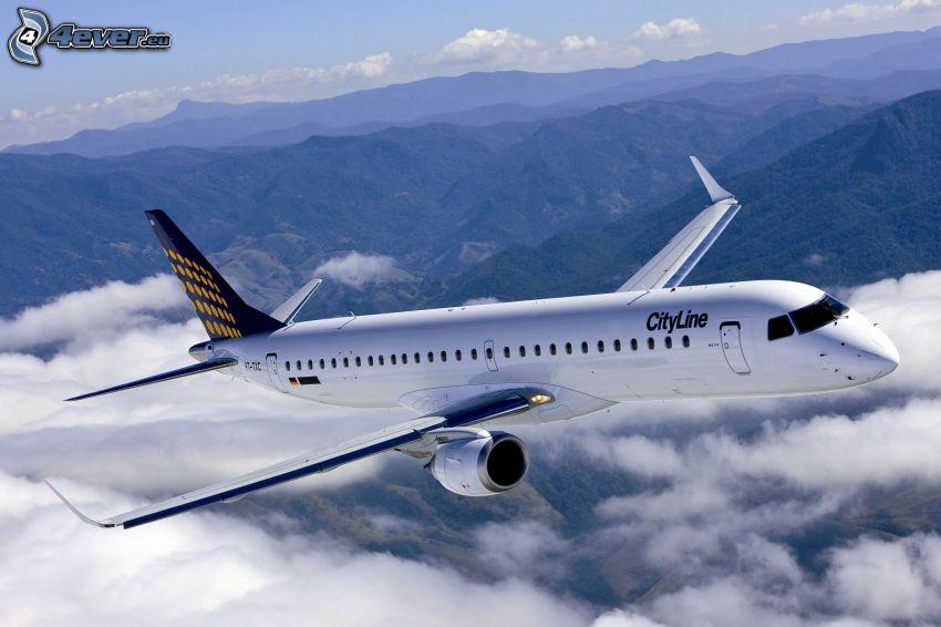 avión, encima de las nubes, montañas