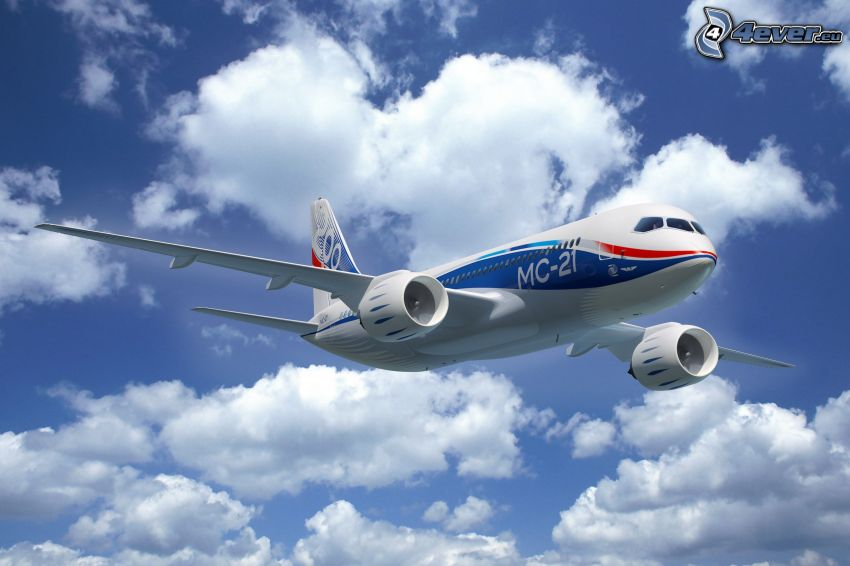 avión, nubes