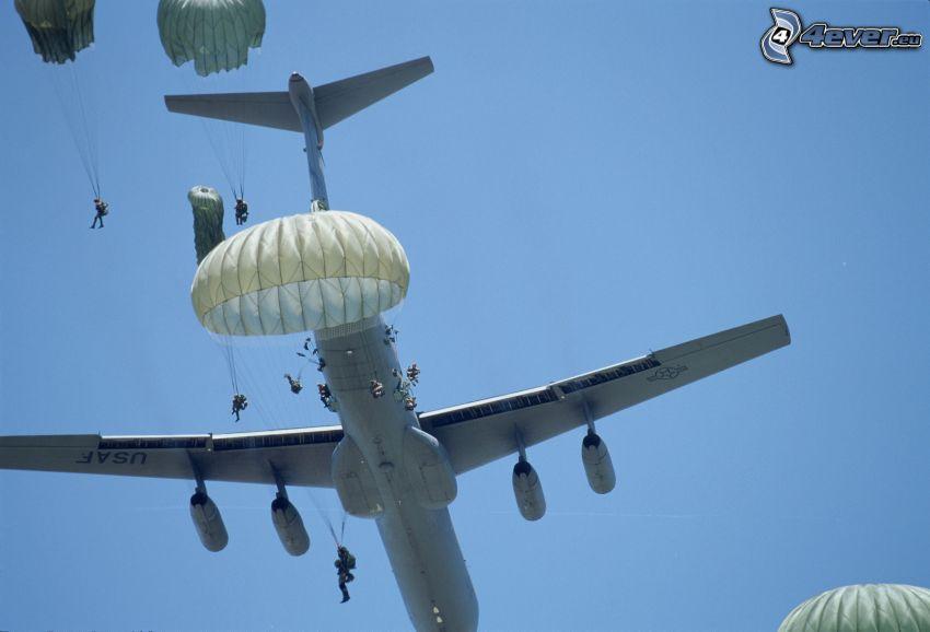 avión, paracaidista