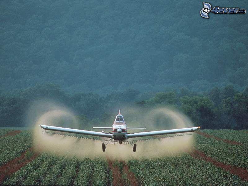 Avión de fumigación, campo
