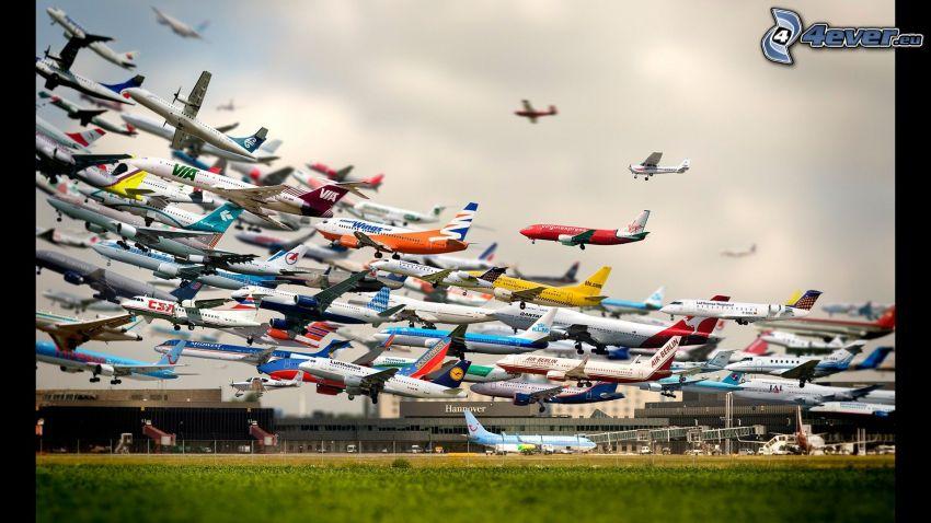 aviones, despegue, aeropuerto