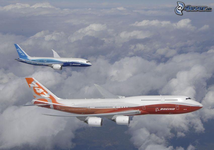 aviones, encima de las nubes
