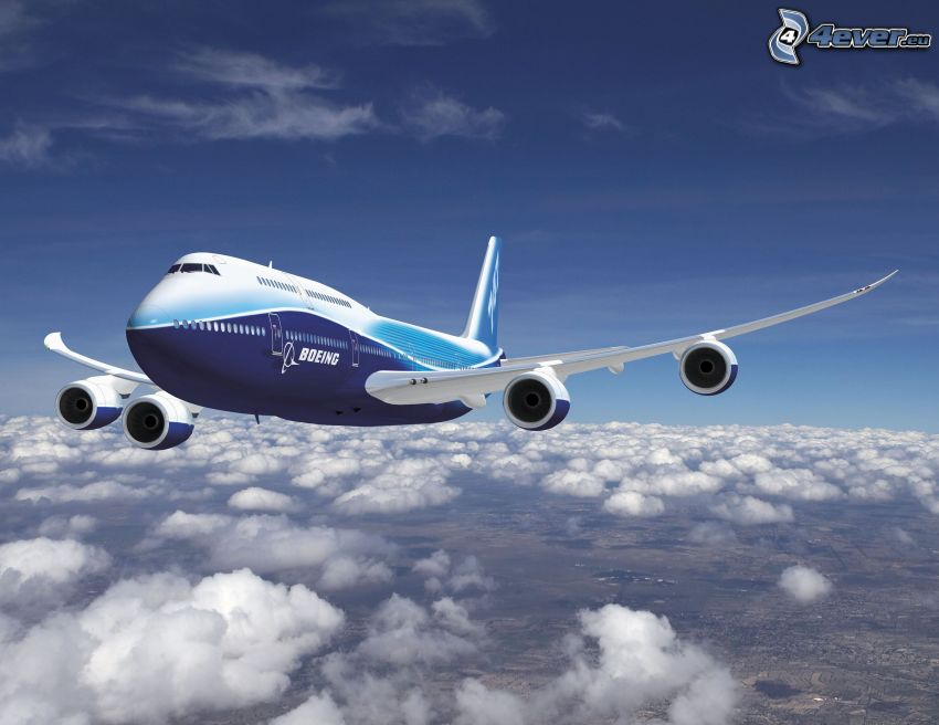 Boeing 747 Dreamliner, avión, encima de las nubes
