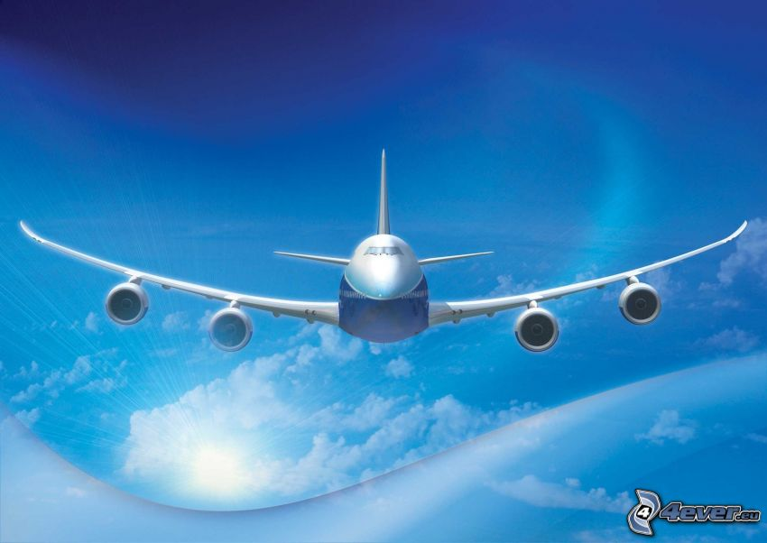 Boeing 747 Dreamliner, cielo, nubes