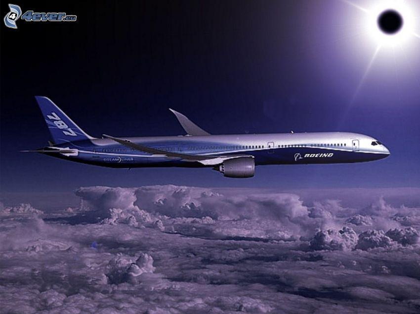 Boeing 787 Dreamliner, avión, eclipse, nubes