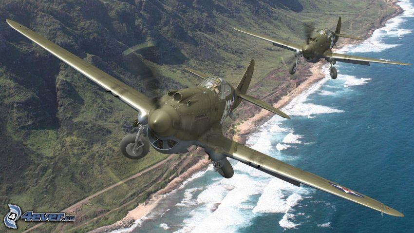 Curtiss P-40, colina, mar