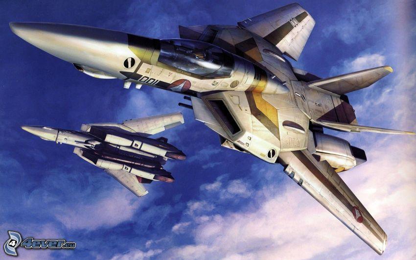 Macross, aviones de caza, nubes