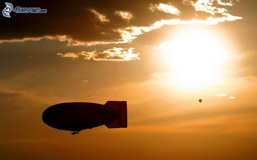 globo dirigible, globo, sol, cielo