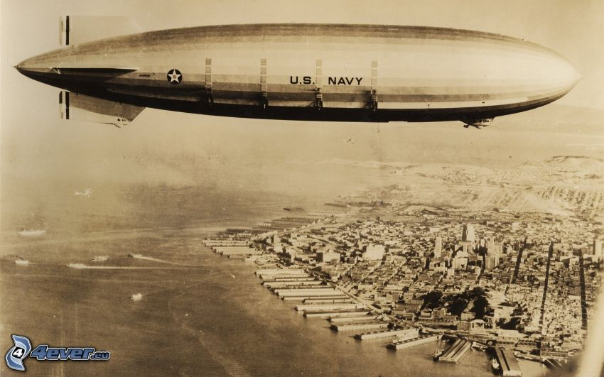 globo dirigible, Manhattan, ciudad, sepia