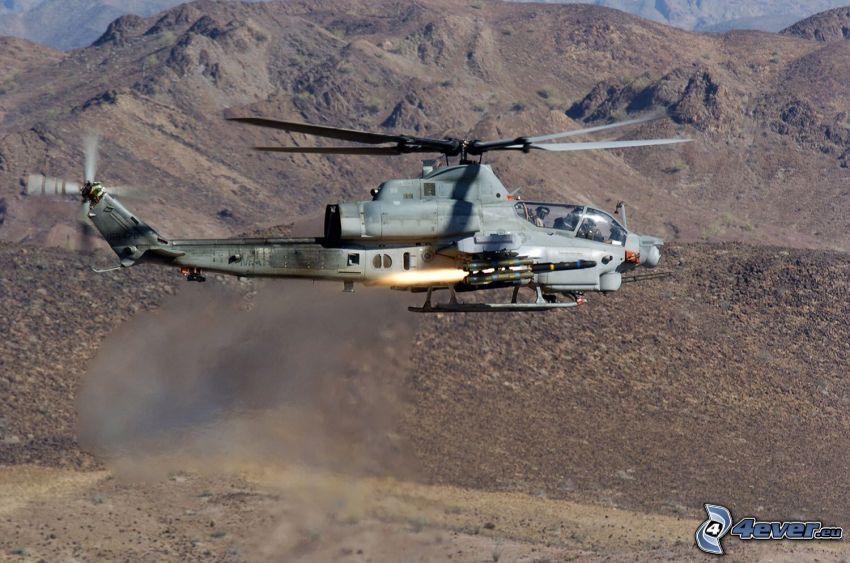 AH-1Z Viper, helicóptero militar, montañas
