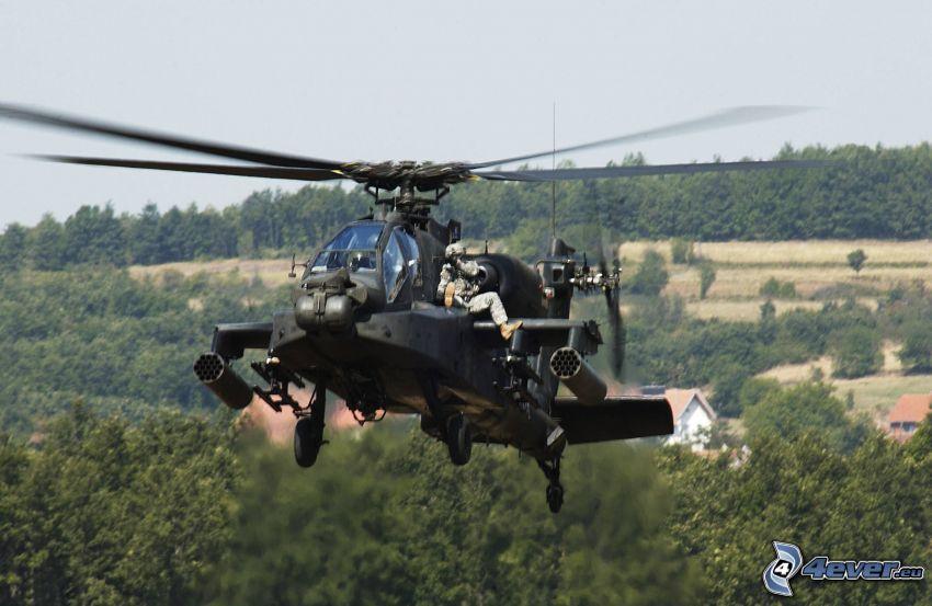 AH-64 Apache, soldados, bosque