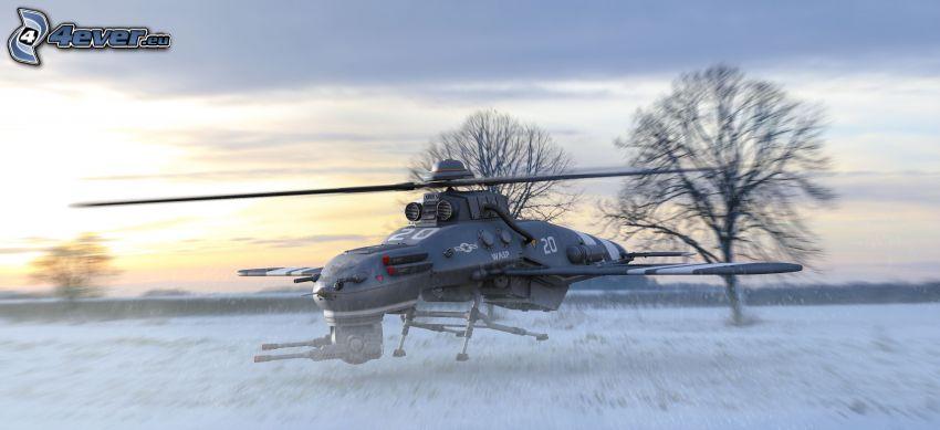 helicóptero, aterrizaje, nieve