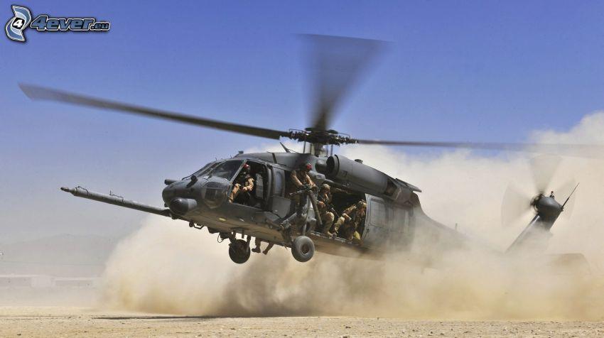 helicóptero, aterrizaje, polvo