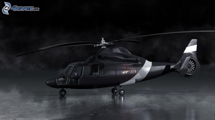 helicóptero, Foto en blanco y negro