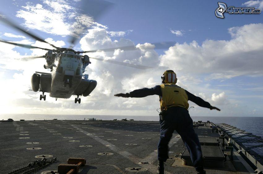 helicóptero, hombre