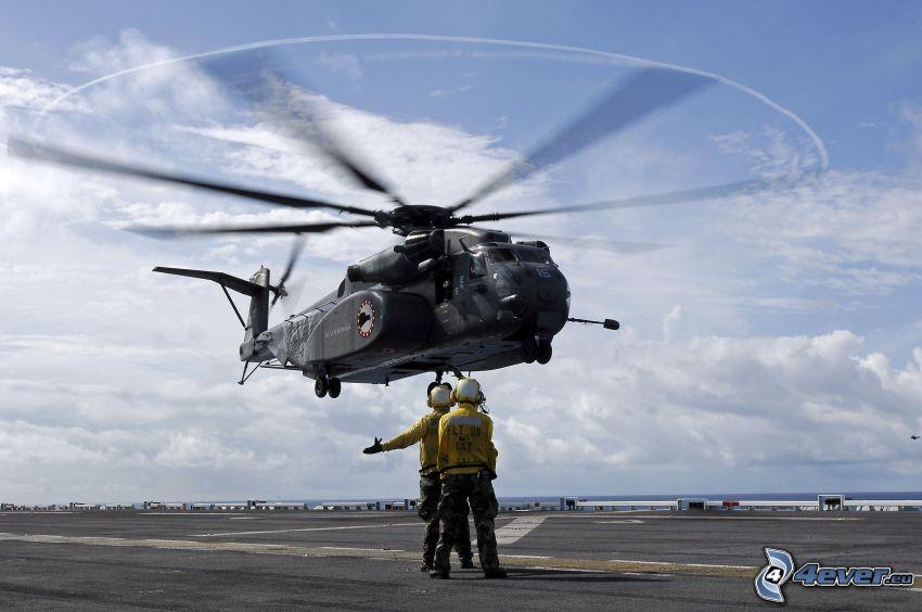helicóptero, hombres