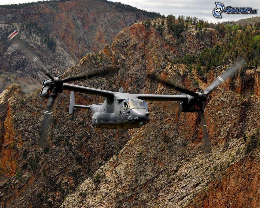 helicóptero, montaña rocosa