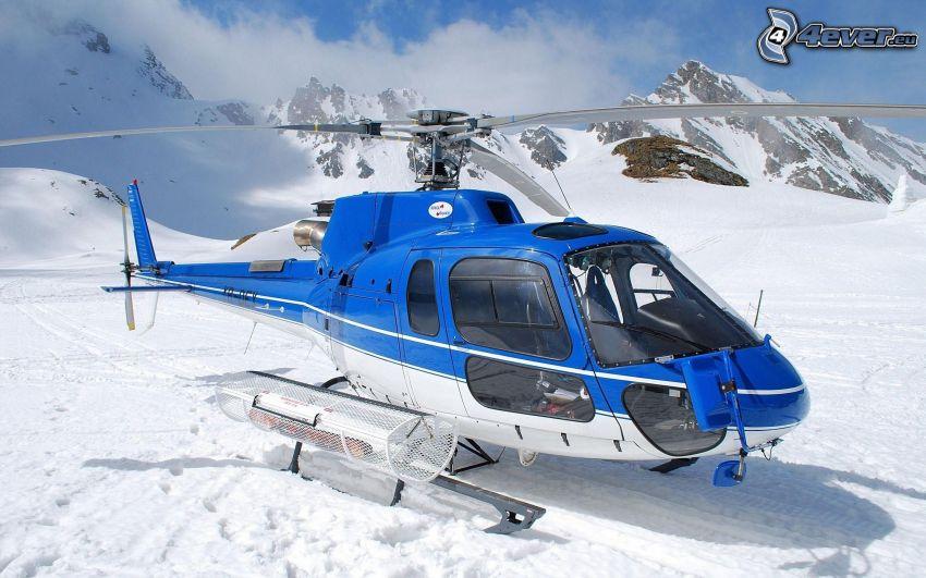 helicóptero, nieve