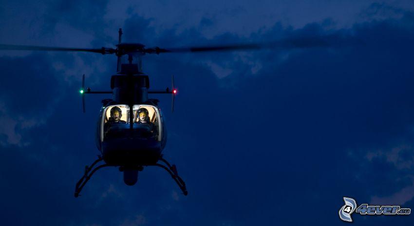 helicóptero, noche