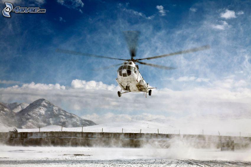 helicóptero, paisaje nevado