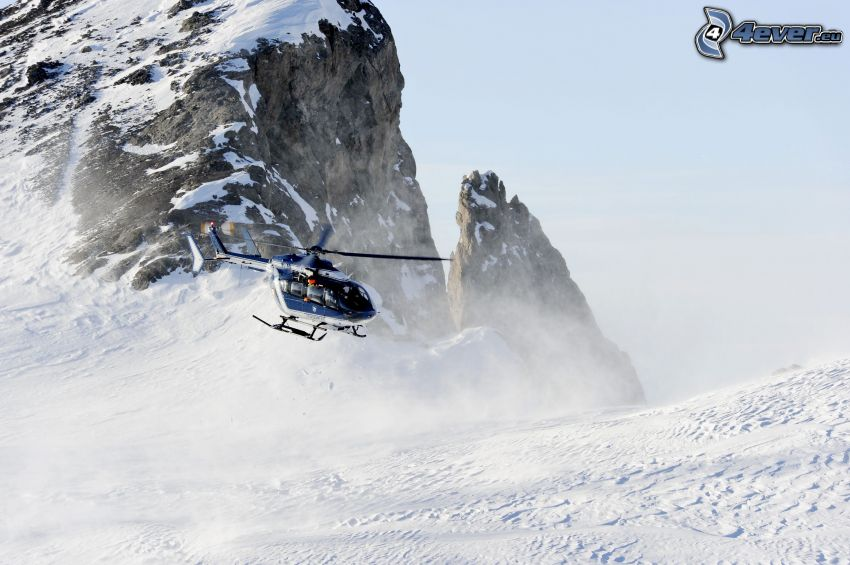 helicóptero, roca, nieve