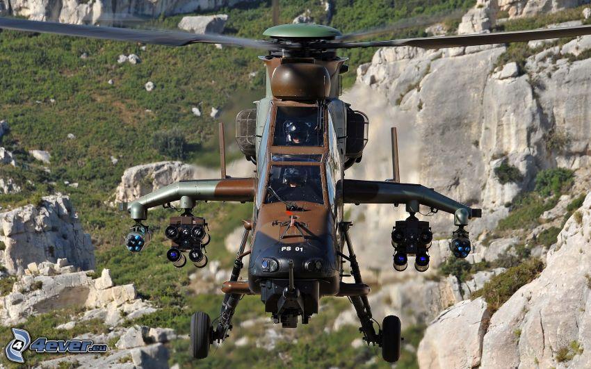 helicóptero, rocas