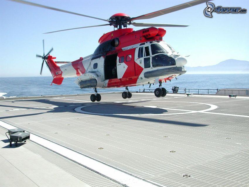 helicóptero de rescate, portaaviones, mar