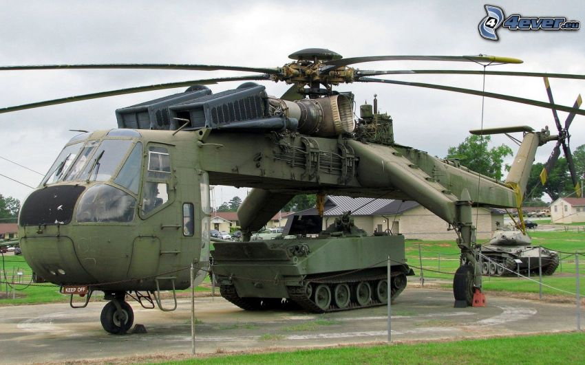 helicóptero militar, tanque