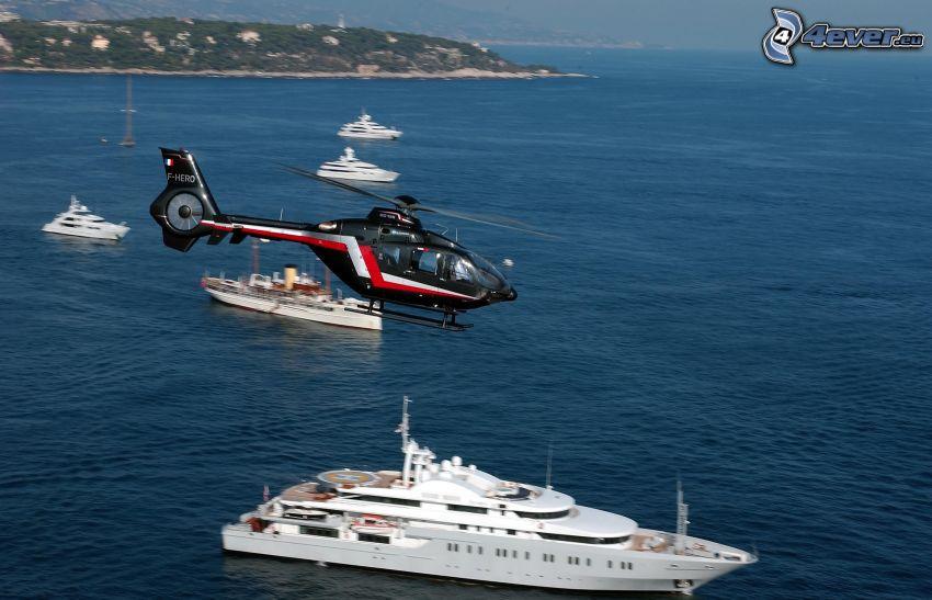 helicóptero personal, naves, bahía, costa, mar