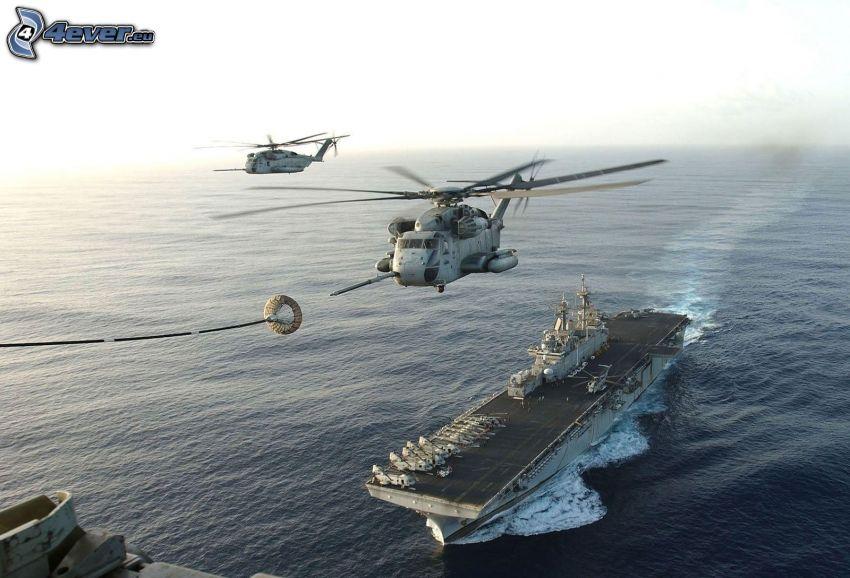 reabastecimiento en vuelo, helicópteros militares, portaaviones, armada y Fuerza Aérea, mar