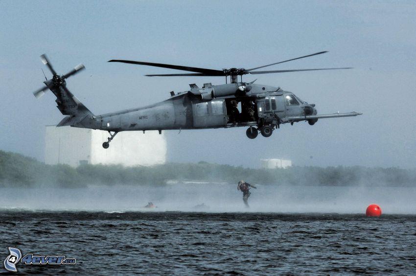 Sikorsky HH-60 Pave Hawk, helicóptero militar, descenso desde un helicóptero