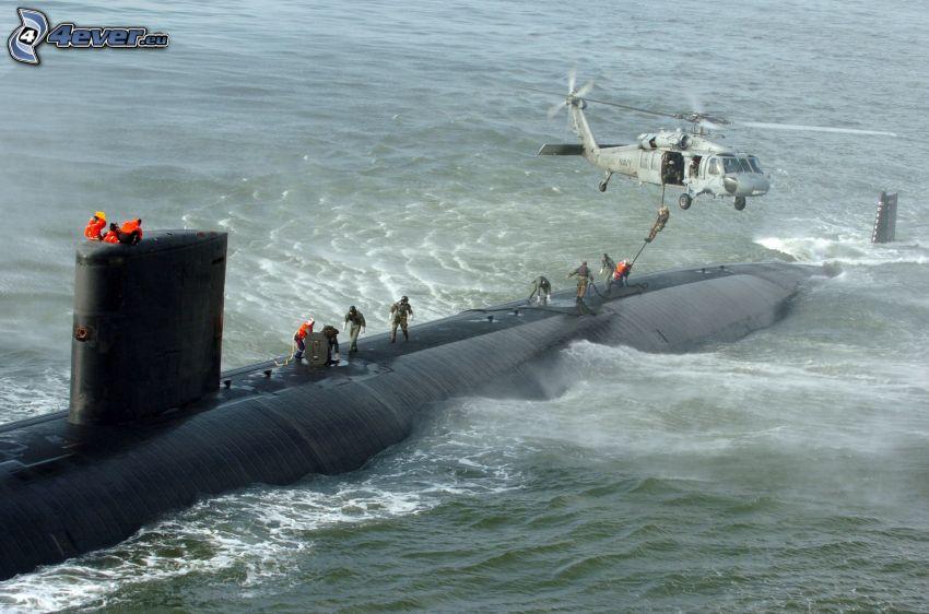 submarino, helicóptero, personas