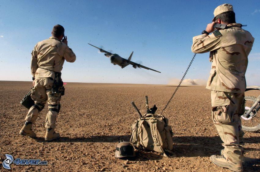 soldados, avión, desierto, cielo, mochila