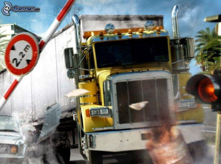 accidente, camión, remolque americano