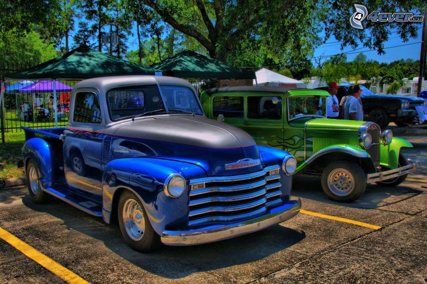 aparcamiento de coches antiguos, pickup truck, HDR