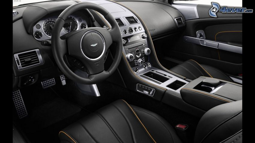 Aston Martin, interior, volante, cuadro de mandos - salpicadero