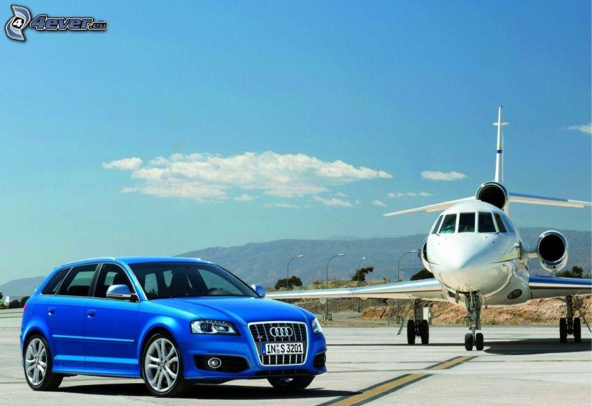 Audi A3, jet privado, aeropuerto