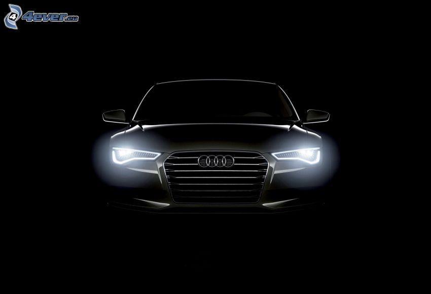 Audi A7, delantera de coche, luces