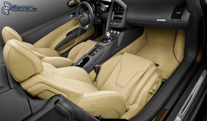 Audi R8, interior, descapotable, asiento, volante, palanca de cambios