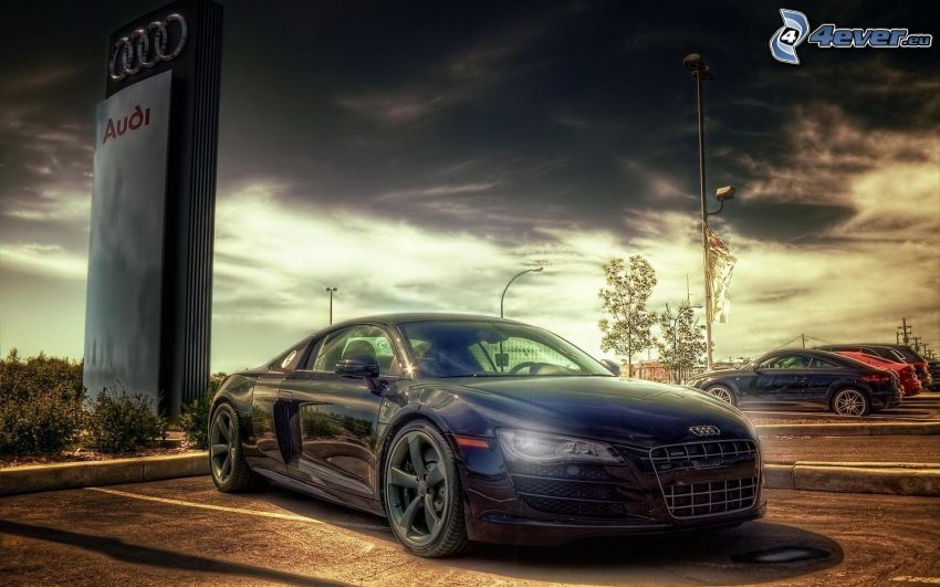 Audi R8, parking, nubes, HDR
