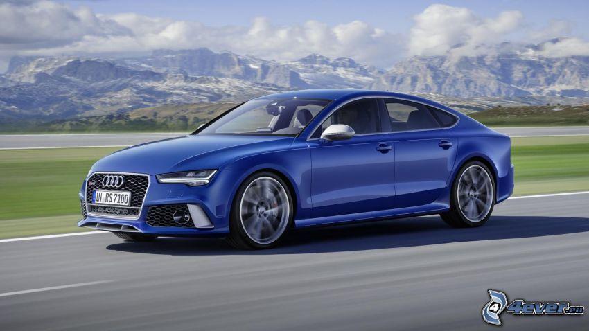 Audi RS7, camino, acelerar, montaña rocosa
