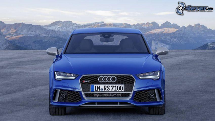 Audi RS7, sierra, montaña rocosa