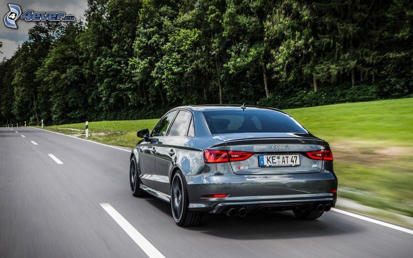 Audi S3, camino, bosque, acelerar
